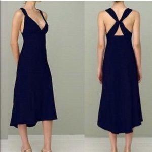 J. Crew Avery black silk midi dress